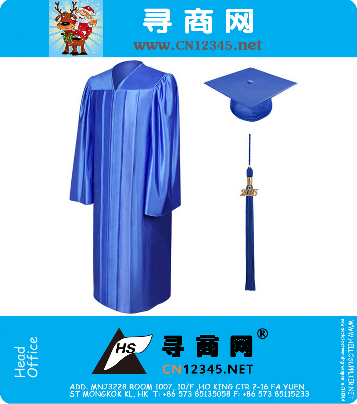 2016 Master Economy Shiny Royal Blue Graduation Gown Cap and Tassel ...