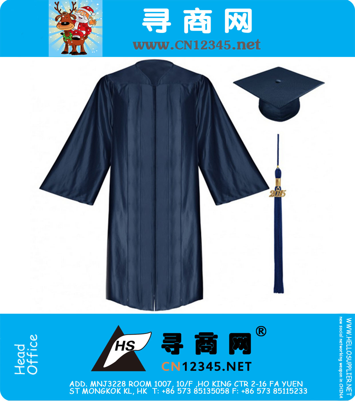 High School Graduation Gown Cap and Tassel Shiny Navy Blue, NA-FB001 ...
