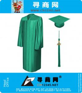 Economy Shiny Emerald Green Graduation Gowns Caps And Tassel